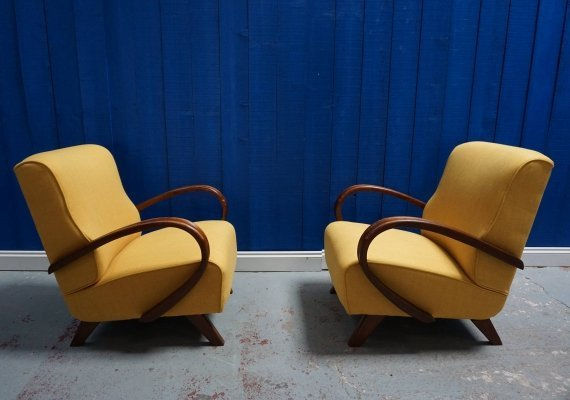 Pair of Art Deco Loungers in Yellow, 1930's