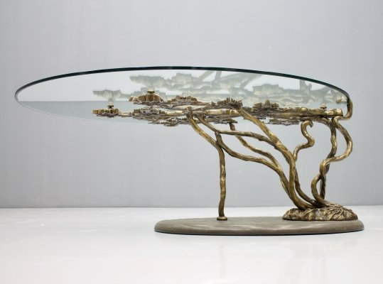 Tree Form Bronze Coffee Table, France 1970s