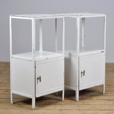 Pair of Hospital Bedside Cabinets