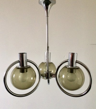 Midcentury Dutch Design Smoke Glass Chandelier, 1970s