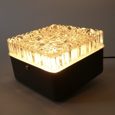 Midcentury Design Flush Mount Square Ice Texture Glass Wall Lamp, 1960's