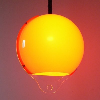 Vintage 1960's Italian Design Orange Plastic Ball Pendant Hanging Lamp