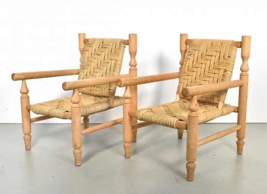Pair of French wood & rope armchairs, 1960s