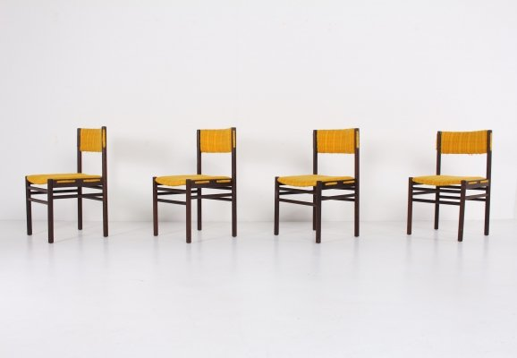 Set of 4 solid wenge dining chairs, 1970's