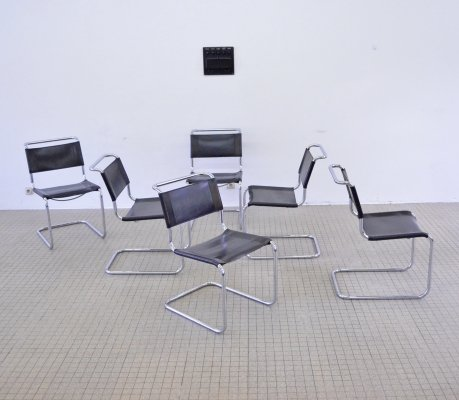 Set of 6 black leather S33 dining chairs by Mart Stam for Thonet, 1970s