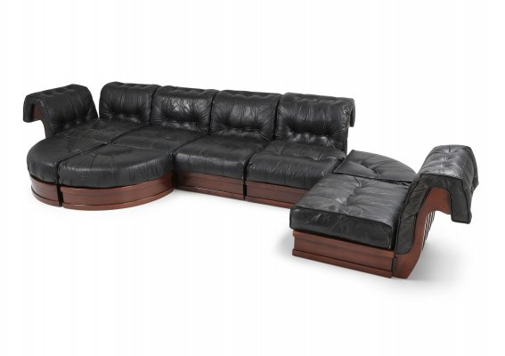 Sectional Sofa In Black Leather & Mahogany by Luciano Frigerio, 1970s