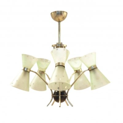 Diabolo Shaped Glass Lunel Chandelier