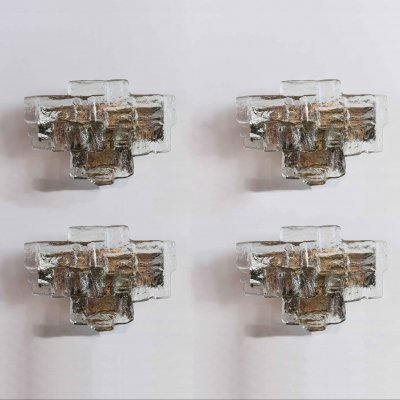 Set of 4 wall lamps in Ice glass by JT Kalmar