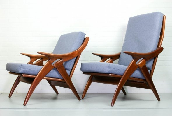 Set of blue/grey armchairs from De Ster Gelderland, 1960s
