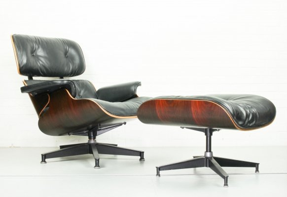 Eames Lounge Chair & matching Ottoman in Rio Rosewood by Herman Miller, 1970s