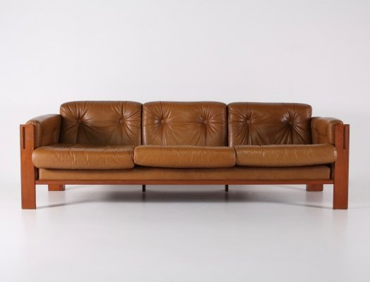 Danish cognac leather sofa by Interform Collection, 1970s