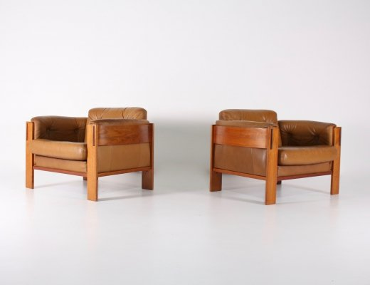 Pair of Danish cognac leather armchairs by Interform JYDSK