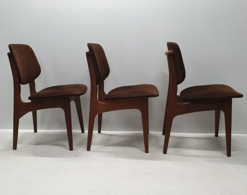 Vintage Danish teak wooden dining chairs