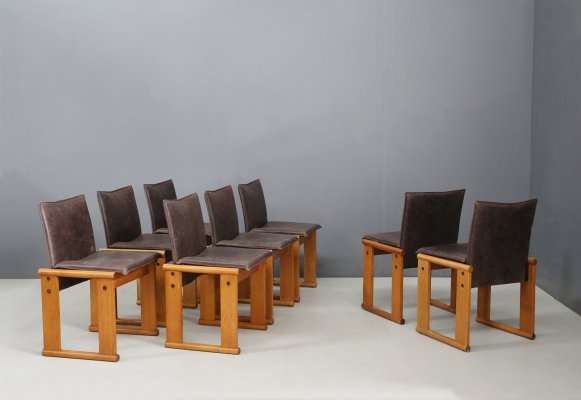 Set of 8 Monk chairs in leather & wood by Afra & Tobia Scarpa for Molteni, 1970s