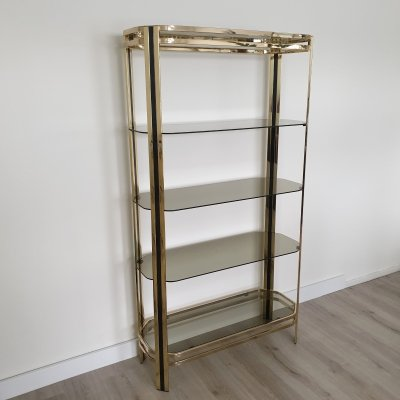 Vintage brass & glass etagere display shelf, 1970s