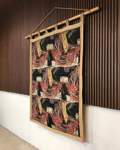 Large Italian Abstract Art Wall Hanging Tapestry with Bamboo Rod, 1940s