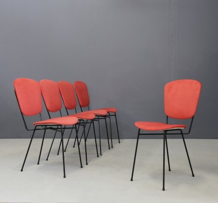 Set of 5 Napoleon chairs by Doro Cuneo in iron & fabric, 1960s