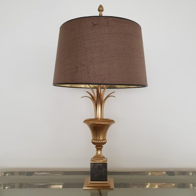 Vintage brass pineapple leaf table lamp by Boulanger, 1970s