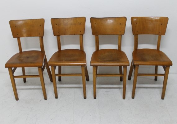 Set of 4 Thonet dining chairs, 1950s
