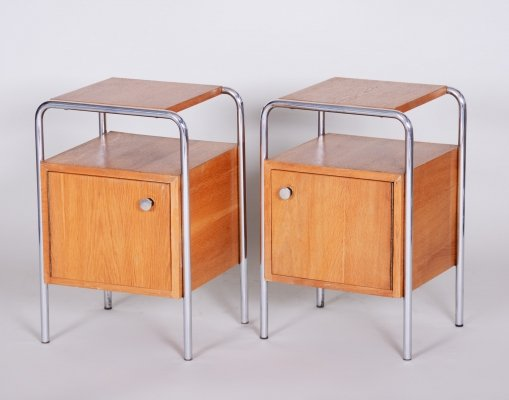 Pair of Oak Bauhaus Bed-Side Tables by Robert Slezak, Czechoslovakia 1930s