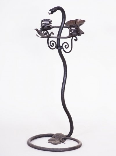 Wrought Iron Candelabrum Stand, Austria 1920s