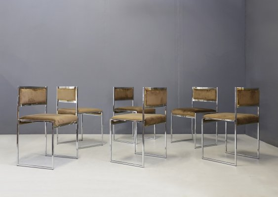 Willy Rizzo Set of six MidCentury chairs in brass & chamois, 1960s