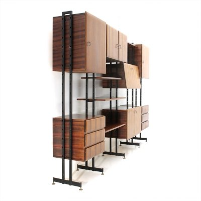 Midcentury Italian wall unit with bar cabinet, 1960s