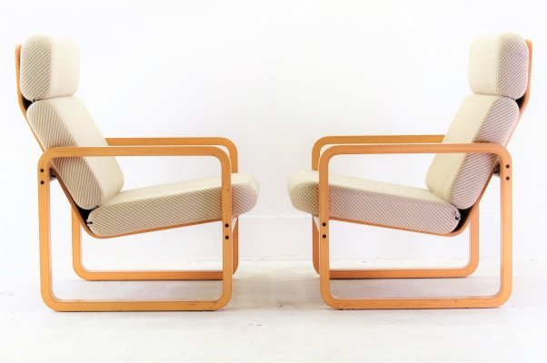 Pair of Square Bentwood Easy Chairs by Mondial, 1980s