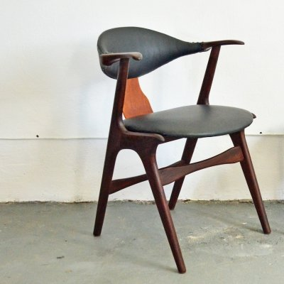 Teak Cowhorn chair for AWA, 1950s