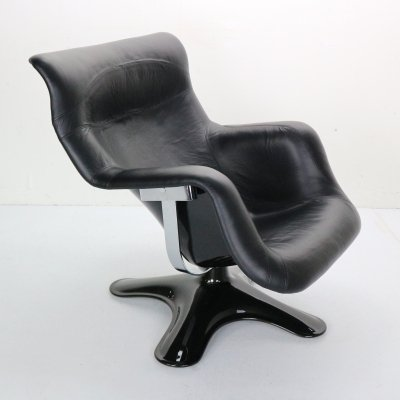 Yrjö Kukkapuro 'Karuselli' Lounge Chair in Black Leather for Haimi, 1960s