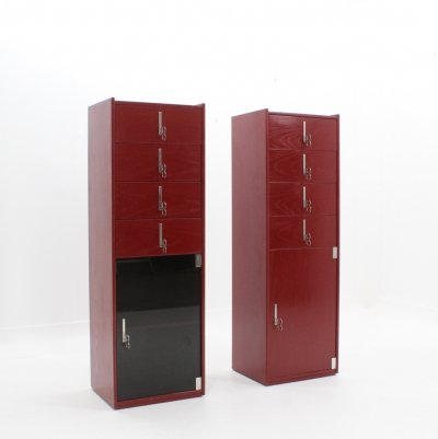 Set of 2 vintage laquered cabinets by Vittorio Introini for Saporiti, 1970s