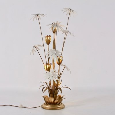 White flowers gilt floor lamp by Hans Kögl