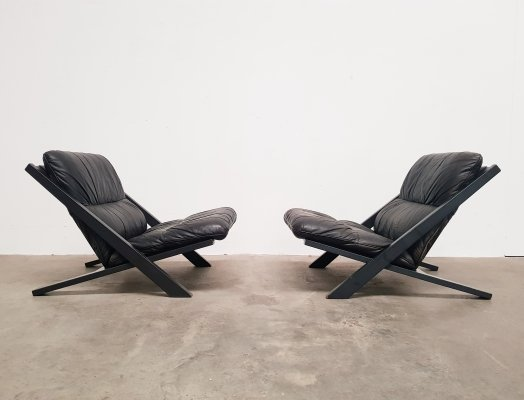 Pair of De Sede DS80 lounge chairs by Ueli Berger, 1970s