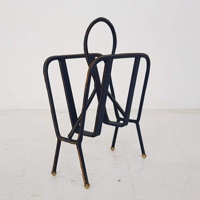 Jaqcues Adnet leather magazine rack, France 1940's