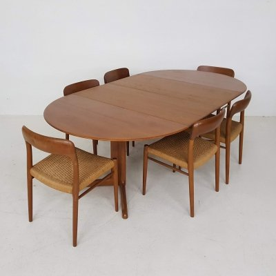 Niels Otto Møller 'Model 75' papercord dining chairs & teak table, Denmark 1960s