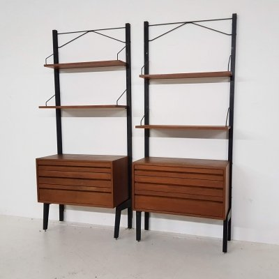 Poul Cadovius for Royal System wall units in teak & metal, Denmark 1950s