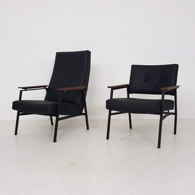 Black vinyl 'High & Low' Lounge Chairs by Avanti, Dutch Design 1960's