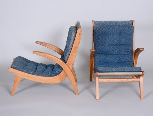 Pair of Blue Armchairs in Ash wood by Jan Vaněk, Czechia 1950s