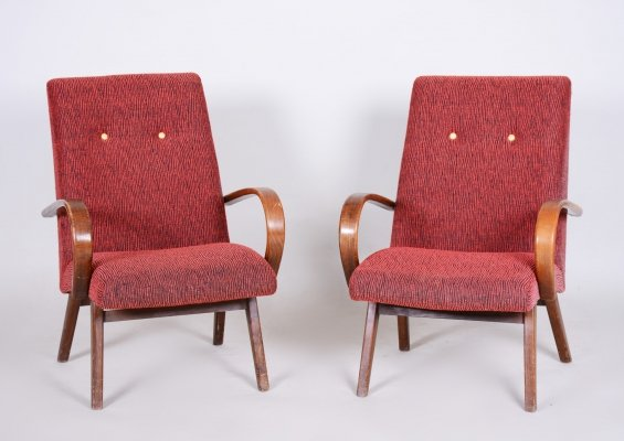 Red Pair of Beech Armchairs, Czechia 1950s