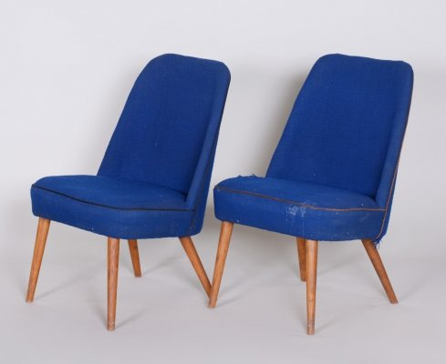 Pair of Blue Armchairs in Ash wood, Czechia 1950s