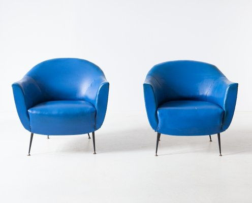 Pair of Italian blue skai armchairs, 1950s