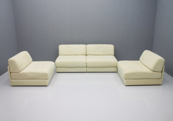 Set of Four Cream White Leather DS 76 Modular Sofa Elements by De Sede, Switzerland