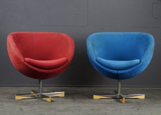 Pair of suede 'Planet' armchairs by Sven ivar Dysthe for Stokke Varier