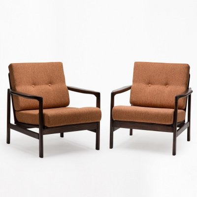 Pair of B-7522 arm chairs by Zenon Bączyk for Swarzędzka Fabryka Mebli, 1960s
