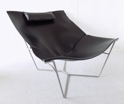 Black Leather 'Semana' Sling Chair by David Weeks for Habitat UK, 1990s