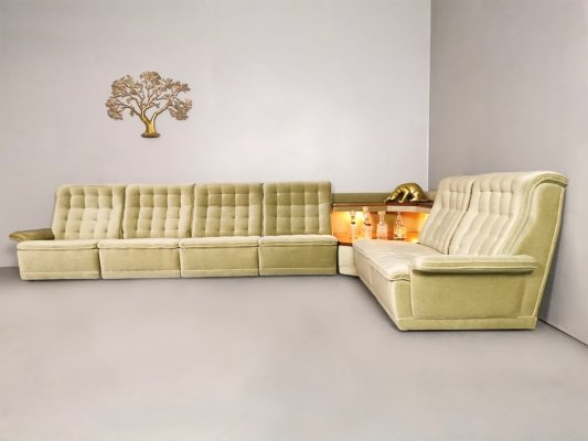 Vintage modular velvet lounge sofa & side table