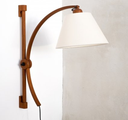 Adjustable teak wall lamp by Domus Denmark, 1970s