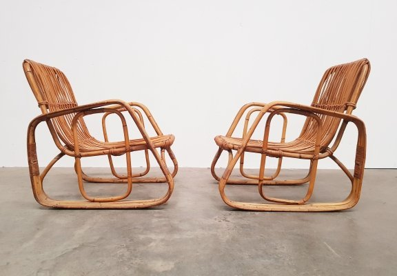 Pair of Rattan lounge chairs by Vittorio Bonacina, 1960s