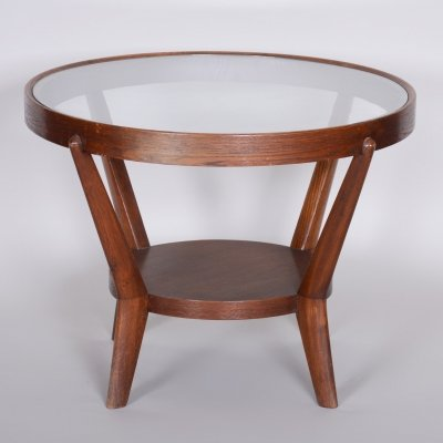 Small Brown Round Table by Karel Kozelka & Antonín Kropáček, Czech Functionalism 1940s