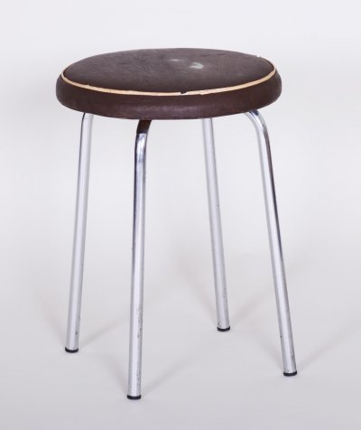Small Round Bauhaus Chrome Stool by Robert Sezák, 1940s